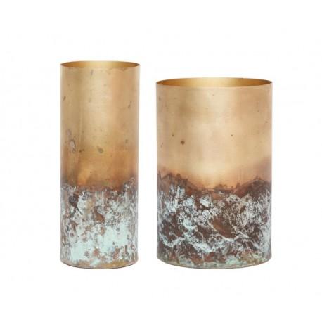 Pareja de Floreros metálicos oro antiguo