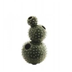 Jarrón con forma de cactus verde