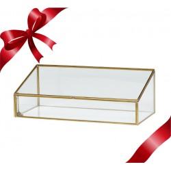 Caja de latón y cristal inclinada