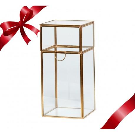 Caja en cristal y latón vertical