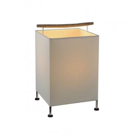 Lámpara de sobremesa con asa en madera
