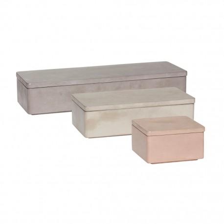 Juego de 3 Cajas orden y almacenaje en cemento