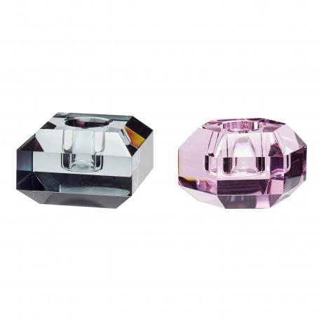 Set de 2 Candelabros de Cristal Pink/ Smoke