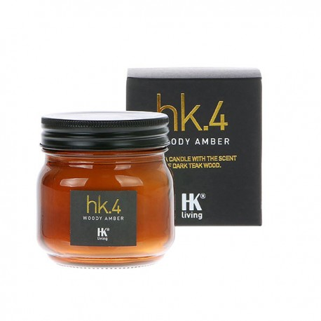 Vela hk.4 glass soy candle woody amber, HK Living