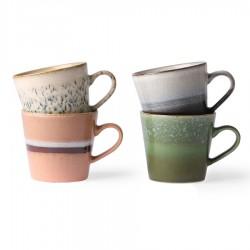 Set  4 Tazas Ceramic 70´s  Cappuccino HK Living