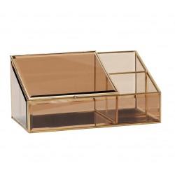 Caja inclinada de latón y cristal marrón, Hübsch
