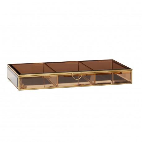 Caja cristal marrón y latón, Hübsch