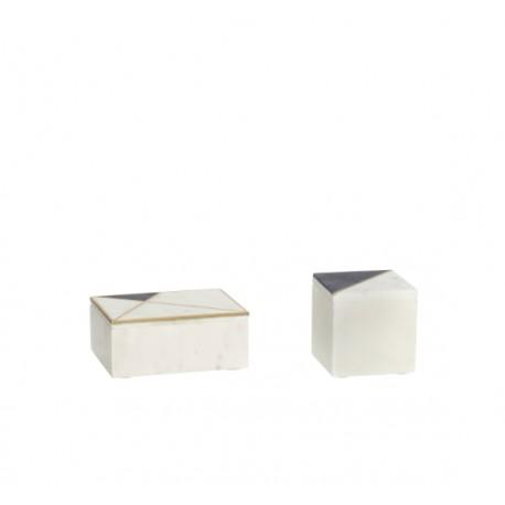Set 2 cajas Mármol y Latón, Hübsch