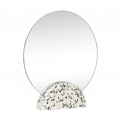 Espejo Redondo sobremesa Terrazo Blanco, Hübsch