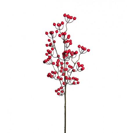 Rama artificial Bayas Rojas + hojas, 75 cm.