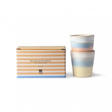HK living suites special: tazas de cerámica de los años 70 horizonte (juego de 2)