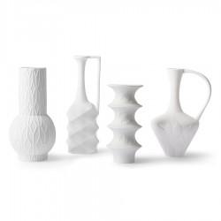 SET 4 Jarrones Porcelana Blanca Mate, HK Living