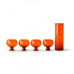 Set Jarra y copas Cristal FUNKY Orange, HK Living