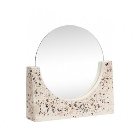Espejo redondo en Terrazo Blanco, Hübsch