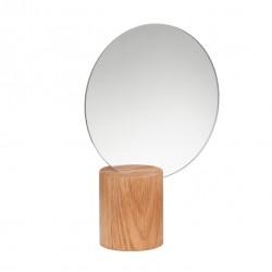 Espejo redondo, base madera natural, Hübsch