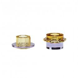 Candlestick, glass, amber/purple, s/2, Hübsch