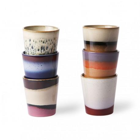 70s ceramics: coffee mugs (set of 6), HK Living