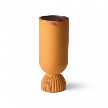 Ceramic flower vase ribbed base rustic, HK Living