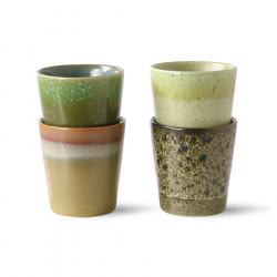 70s ceramics: coffee mugs, spring greens (set of 4)