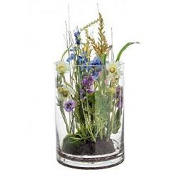 Composición Floral Silvestre con florero de Cristal